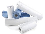 Hygiene/couch roll 2 ply in 10 inch or 20 inch white or blue